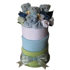 Three Little Bears in a Box - Boys & Girls Keepsake Baby Gifts, Baby Gift Box, Triplets, Twins, Baby Gift Hampers, Triplet Babies, Multiple Births, Large Gift Boxes, Nappy Cakes