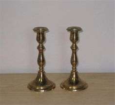 "Vintage Pair of MALM Solid Brass Decorative Candlestick Holders 5 3/4"" Signed"