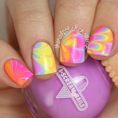 The Nail Polish Challenge: Neon Rainbow Watermarble Nail Art with I Scream Nails French Tip Nail Designs, Pretty Nail Designs, Simple Nail Art Designs, Nail Polish Designs, Awesome Designs, Gel Polish, Great Nails, Cute Nail Art, Beautiful Nail Art
