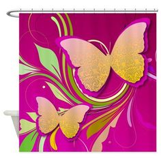 #Butterfly Swirl Shower Curtain $45 #decor #bath