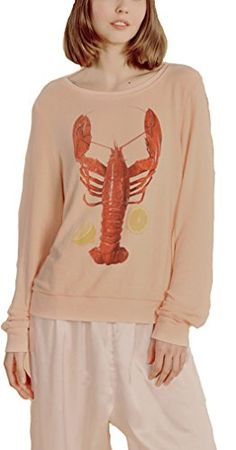 Oure Women Casual Long Sleeved Lobster Printed Sweater Loose T-Shirt Brown Xs Loose Sweater, Fashion Brands, Topshop, Amazon, Printed, Sweatshirts, Brown, Casual, Sweaters