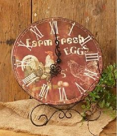 Tick tock, keep time with this wonderful rooster clock! It features an old country design with the bird on front.