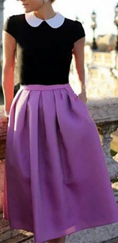 Lavender Purple Pearlescent Bell Flare A Line Pleated Skater Midi Skirt