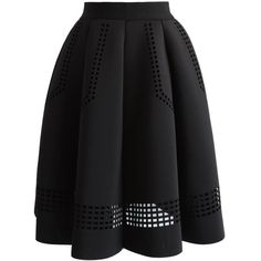 Chicwish Shield Cutout Airy Pleated Skirt in Black (315 HRK) ❤ liked on Polyvore featuring skirts, black, print skirt, knee length pleated skirt, cut out skirt, pleated skirt and calf length skirts