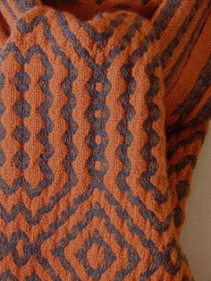 """Jump Scarf""  A deflected doubleweave scarf using Textura Trading Co. yarn ""Jump"" and merino wool. Going for a sculptured effect ...  by Plainweave on Flickr"