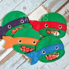 Ninja Turtle Candy Bag Embroidery Design File by EandMeDesigns