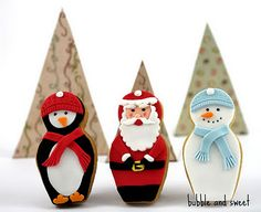 Christmas cookies made with a nesting doll cutter