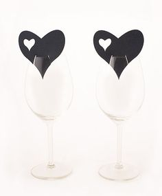 Die Cut Heart Wedding Wine Glass Place Cards
