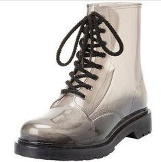 Plus size! Men &Women's Gumboots Gumshoes,Clear Jelly Rain Boots Wellington Martin /Rainboots /Botas, Laceup Waterproof Galoshes