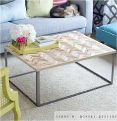 DIY Herringbone Coffee Table. Sarah M Dorsey Designs