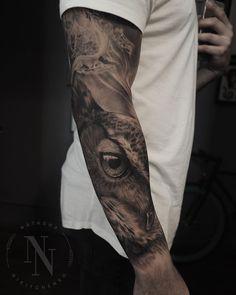 black and grey realistic owl tattoo sleeve by @natasha_tattoo