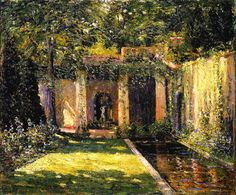 The Garden Umbrella by Ernest Lawson. Gallery: Memorial Art Gallery of the University of Rochester; Medium: Oil on canvas; Memorial Art Gallery, Ashcan School, Gravure Illustration, American Impressionism, Impressionist Art, Famous Gardens, Art Students League, Garden Painting, Oil Painting Reproductions