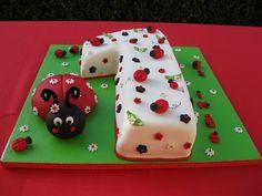 Ladybug Number 1 Cake