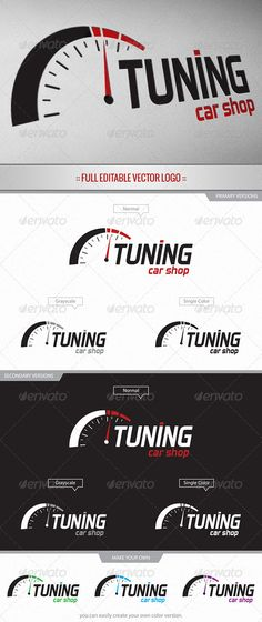 Tuning Car Shop - Logo #GraphicRiver Full editable & scalable vector logo suitable for all kind of car-related subjects, such as: tuning, car services, repairing, performance, garage, racing, etc. Easy to edit/modify colors to meet your needs. Files included: - Illustrator vector arts (Logo + Logo Variations) CS+ - EPS vector arts (Logo + Logo Variations)