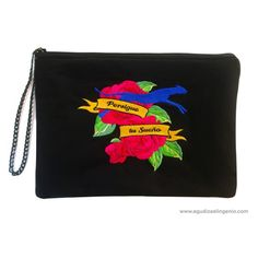 "Bolso ""Persigue tu Sueño"" bordado negro. #bolso #negro #bordado #black #bag #persiguetusueño #woman"