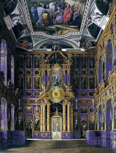 Inside the Church of Resurrection at the Catherine Palace, Saint Petersburg, Russia.: