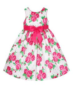 Love this Pink & White Rose A-Line Dress - Girls on #zulily! #zulilyfinds