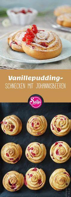 Leckere Vanillepudding-Schnecken mit Johannisbeeren! Super Snack für zwischendurch.