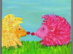 Hedgehogs mini painting, Green Grass Original  Canvas with Easel, Pink hedgehog meets Yellow hedgehog acrylic miniature painting on canvas by SharonFosterArt on Etsy