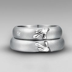 Titanium 'Forever Love' Matching Heart of Mickey And Minnie Wedding Bands Couple Rings