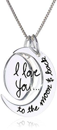 """I Love You to the Moon and Back"" Necklace Chain - Personalized Gifts - Sterling Silver Two Piece Pendant Crescent Moon Necklace 18"" - Necklaces for Women - 925 Nickel & Lead Free - Platinum Rhodium Finish to Prevent Tarnishing - Italian Box Link Chain 0.8mm 18 Inches - Highest Quality Silver Jewelry Sturdy Pendant & Strong Necklace - 30-day Risk-free Money-back Guarantee!"