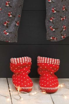 Buy Red And Ecru Knit Boots from the Next UK online shop