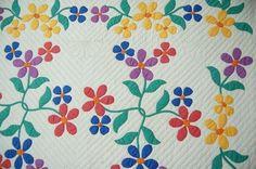 "Vintage 30's Marie Webster ""Gay Garden"" Applique Antique Quilt Dense Quilting 