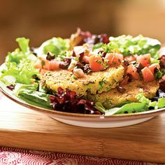 Feta and Green Onion Couscous Cakes over Tomato-Olive Salad by Cooking Light