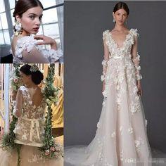 Marchesa 3D Foral Lace Bohemian Beach Wedding Dresses 2018 Modest Dubai Arabic HandmaDouble Split Elegant Bohemian Garden Cheap Bridal Dress