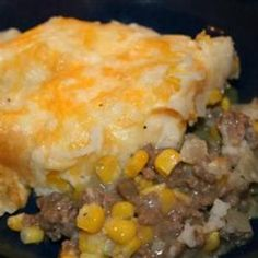 Shaughnessy Shepherds Pie! Cook: 11/2 pound lean ground beef 2 chopped onions 2 cup chopped celery 6 garlic cloves minced salt and pepper, Worcestershire sauce when cooked add 2 cups frozen corn stir.  Mash 10 cooked potatoes 1/2 cup butter salt and pepper. 9x13 pan Butter salt and pepper to top of potatoes 350  45 min broil to brown top. CS