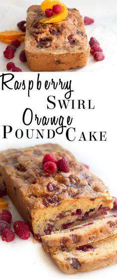 Raspberry Swirled Orange Pound Cake - Erren's Kitchen