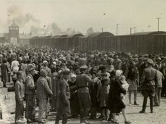 Jews unloaded from a train before selection and extermination.