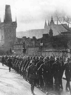 German occupation troops march through the streets of Prague. Czechoslovakia, March 15, 1939.