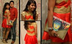 Valentine's outfit! Chic Red and Golden outfit in Raw silk and georgette, finely embroidered.. looks stunning with golden leaf and rose earrings and a jute clutch. A red double collar Shirt for the guy compliments the look.