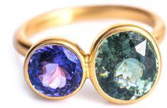 Marie-hélène De Taillac Green Tanzanite Tourmaline and Gold Ring