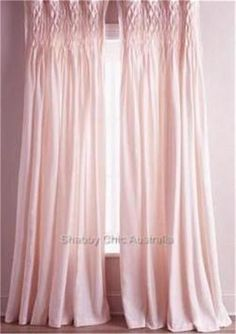 Shabby French Provincial Curtains Drapes 2 Vintage Pink Smocked Panels Chic New #FrenchCountry
