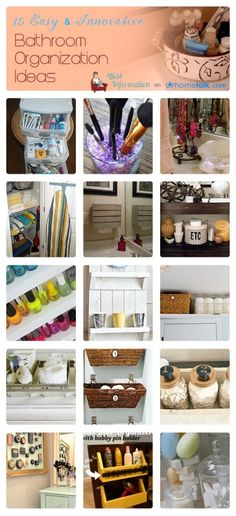 Here are 15 different bathroom organization ideas that are inventive and creative.