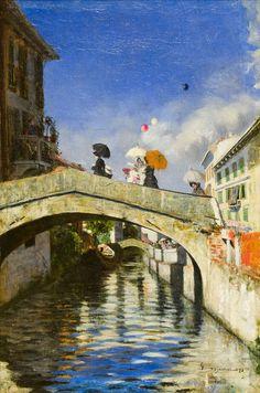 ۩۩ Painting the Town ۩۩ city, town, village & house art - Giovanni Segantini | Naviglio a Ponte San Marco, 1880