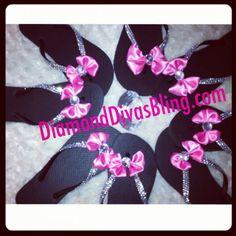 Bridesmaid black sandals with pink bows, weddings, summer, flip flops, fashion, rhinestones, bling www.DiamondDivasBling.com Wedding Fun, Wedding Ideas, Pink Bows, Rhinestone Sandals, Weeding, Black Sandals, Rhinestones, Bff, Dancing