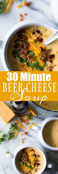 This creamy, comforting beer cheese soup can be done and ready to eat in (Beer Recipes Cheese) Beer Recipes, Easy Dinner Recipes, Soup Recipes, Cooking Recipes, Dinner Ideas, Cheese Recipes, Delicious Recipes, Beer Cheese Soups, Pasta