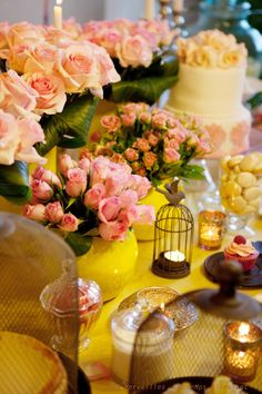 Sweet table Yellow & rose tendre