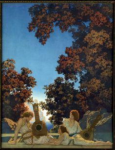 "Maxfield Parrish -""The Lute Players"" 1922.  The original painting resides in the Memorial Art Gallery of Rochester. I saw it today. Beautiful!"