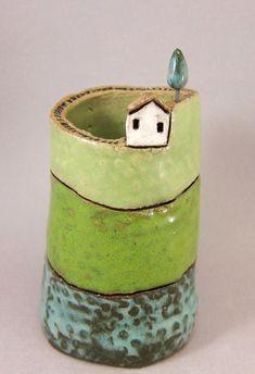 custom order: bud vase and dog dish Blue Forest Candy Drop Inn / Dekorotti Pottery Houses, Ceramic Houses, Ceramic Clay, Ceramic Bowls, Porcelain Ceramic, Hand Built Pottery, Slab Pottery, Pottery Vase, Ceramic Pottery