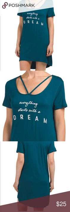 """ComingSoon #everythingstartswithadream Nightshirt Metallic lettering on this nightshirt made us love this nightshirt. We know some of our POSH friends will too! """"Everything Starts with a DREAM"""" in silver lettering. Chic Neckline with slight hi-low hemline. Be stylish even when you sleep. Style & quality that just can't be beat! Fabric is soft and has nice stretch to it- how we love a Rayon/Spandex blend!   Handpicked with 💜 NWT✨ Price Firm🌺 Danskin Intimates & Sleepwear"""