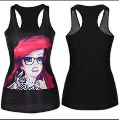 a69c3e3f552a7b Women Print Tank Tops Vest Blouse Gothic Clubwear Cami singlet Racerback  T-Shirt