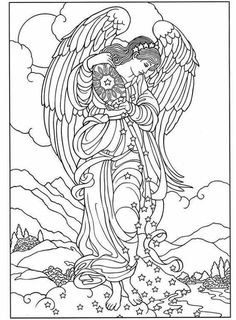 5 best images of free printable adults coloring pages angel free adult coloring pages angels beautiful angel coloring pages and little angels coloring - Coloring Book Angels
