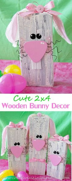 2x4 Wooden Bunnies. Such cute decorations for Easter and Spring!