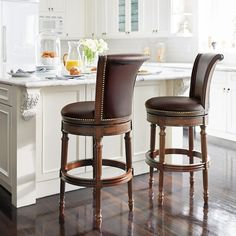 Chapman Swivel Bar and Counter Stools Kitchen Counter Stools, Swivel Counter Stools, Counter Height Stools, Kitchen Island, Kitchen Chairs, Leather Bar Stools, Leather Dining Chairs, Metal Chairs, Bar Stools With Backs