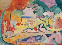 Henri Matisse, Le bonheur de vivre oil on canvas. It was called Fauvist, bringing Matisse both public derision and notoriety. Henri Matisse, Matisse Art, Henri Rousseau, Modern Artists, French Artists, Matisse Pinturas, Matisse Paintings, Picasso Paintings, Art Paintings
