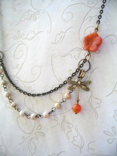 Vintage Style Dragonfly Necklace  orange flower by botanicalbird, $24.00